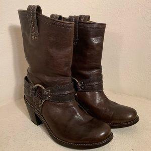 Frye Carmen Harness Boot Dark Brown 77372